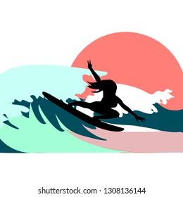 Surfer girl on wave on sunset vector illustration
