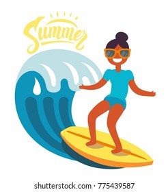 Surfer girl rides the waves. Vector flat