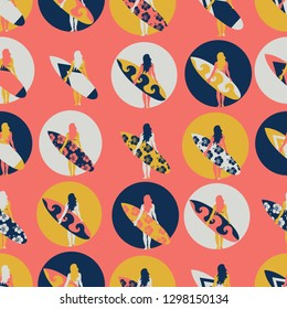 Surfer girl seamless vector pattern. Woman with surfboard illustration in circles on coral background. Summer beach vacation design. Surf sport design Poster, banner, flyer, surf store, beach wear.