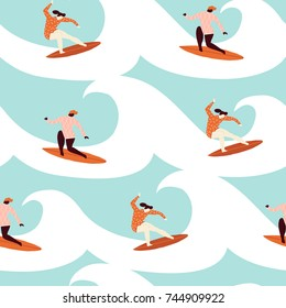 Surfer girl surfing in the ocean seamless pattern