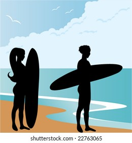 surfer girls at the beach (silhouette)