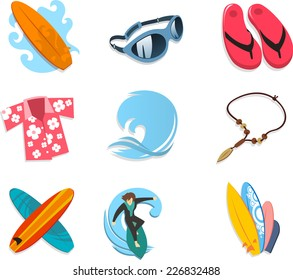 Surfer icon set, with surf board, sunglasses, flip flop, Hawaiian shirt, ocean, wave, ocean wave, necklace, boards, surfer, surfing. Vector illustration cartoon.