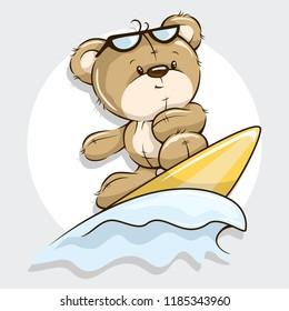 Surfer Little Cute Bear