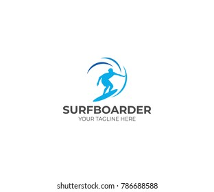 Surfer Logo Template. Surfboarder Vector Design. Surfing Illustration