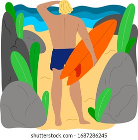 Surfer man character in blue swim shorts standing between rocks with the surfboard. Vector illustration in flat cartoon style