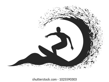 Surfer in motion on the ocean wave.