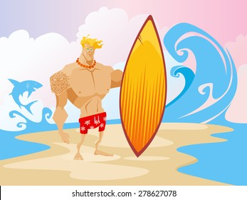 Surfer on the beach caracter concept vector illustration