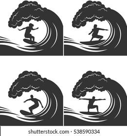 surfer on a wave monochrome set