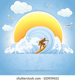 Surfer on a waves, illustration.
