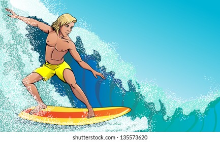 surfer on the waves rushing