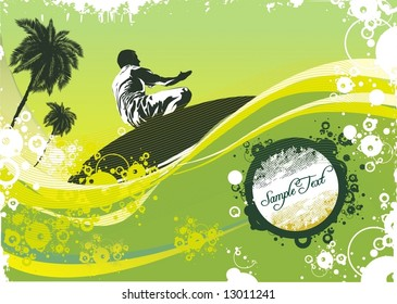 surfer on waves,palm trees & summer
