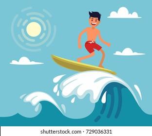 Surfer riding the wave. Vector illustration in flat stile