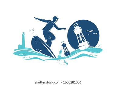 Surfer riding the waves on a surfboard in the sunset. Buoys, lighthouse, seagulls in the background.