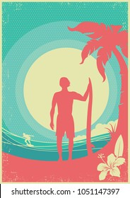 Surfer and sea waves tropical island.Vector poster on vintage background