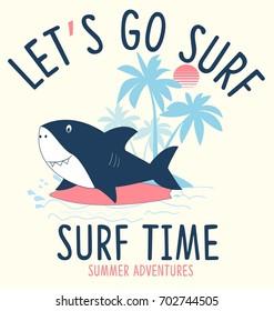 surfer shark illustration vector for summer t-shirt print design.