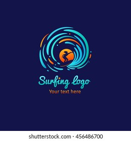 Surfer silhouette, sun and waves logo template. Vector illustration on dark blue background.