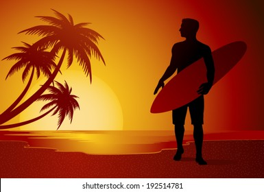 Surfer silhouette walking on the beach in the summer sunset vector illustration