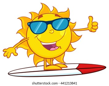 Surfer Sun Cartoon Mascot Character With Sunglasses And Showing Thumb Up. Vector Illustration Isolated On White Background