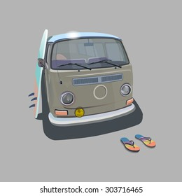 e2ddd3ef555acc Surfer van beach poster for t-shirt graphics. Transportation and surfing