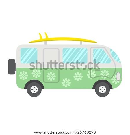 7112226856 Surfer Van Flat Icon Transport Vehicle Stock Vector (Royalty Free ...