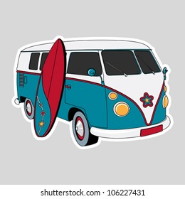 Surfer Van Illustration