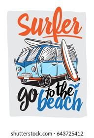 Surfer Van Illustration on beach hawaii palm