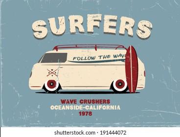 Surfer van poster design. apparel printing. vector illustration. t-shirt design