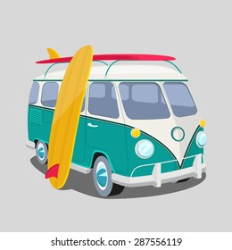Surfer Van Poster Or T Shirt Graphics Transportation And Surfing Sport Board