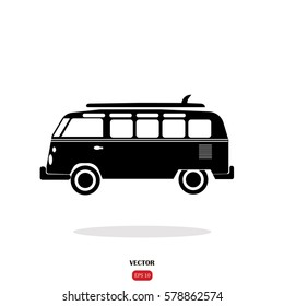 Surfer van with surfboard  on the car. Hipster vector surf label isolated .