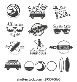 Surfer vector set. Vintage surf elements. Vector retro surfing labels, badges and design elements.