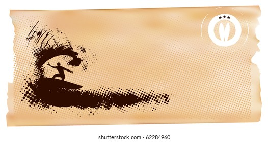 surfer in wave horizontal banner
