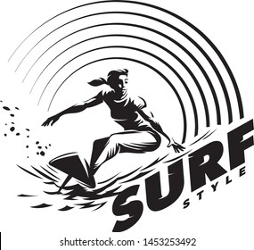 Surfer and Wave. Women's surfing emblem. Black and white round composition on the topic beach