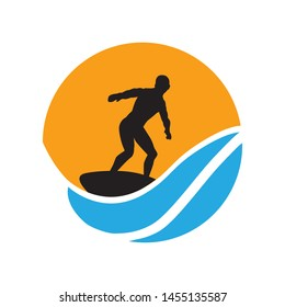 surfer, waves and sun logo icon