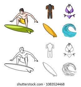 Surfer, wetsuit, bikini, surfboard. Surfing set collection icons in cartoon,outline style vector symbol stock illustration web.
