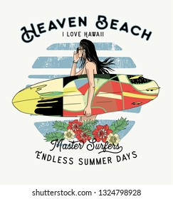 Surfer woman.haven beach .T shirt print design.Vector eps.