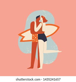 Surfer and women in bikini kissing and hugging on the beach near the ocean. Summer holiday illustration in vector.