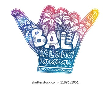 Surfers hang loose shaka hand vector symbol with white Bali island lettering inside and surfing theme doodle style illustrations