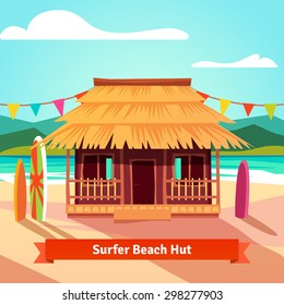 Surfers lagoon beach hut with standing surfboards. Flat style vector illustration isolated.