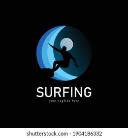surfers logo icon, vector illustration
