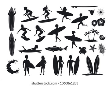 surfers silhouettes set. men and women surfing, riding waves, stand, walk, run, swim with surfboards, symbols design decoration, palm tree, leaf, turtle, shark, hand, hibiscus, wave, sun vector