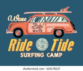 Surfing artwork with a hippie van. Malibu beach California. T-shirt apparel print graphics.