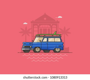 Surfing auto travel concept vector illustration in flat style. Blue SUV with surfing board on seaside town. Summer vacation landscape with automobile on mediterranean village backdrop.