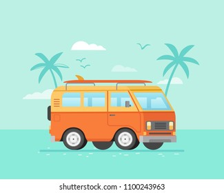 Surfing bus on palm beach poster. Retro bus with surf board illustration