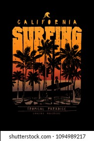 surfing california palm beach chase the mavericks vintage typography t-shirt print