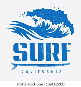Surfing California t shirt design, vintage illustration with an ocean wave and a surfboard. Surf typography. Tee graphics