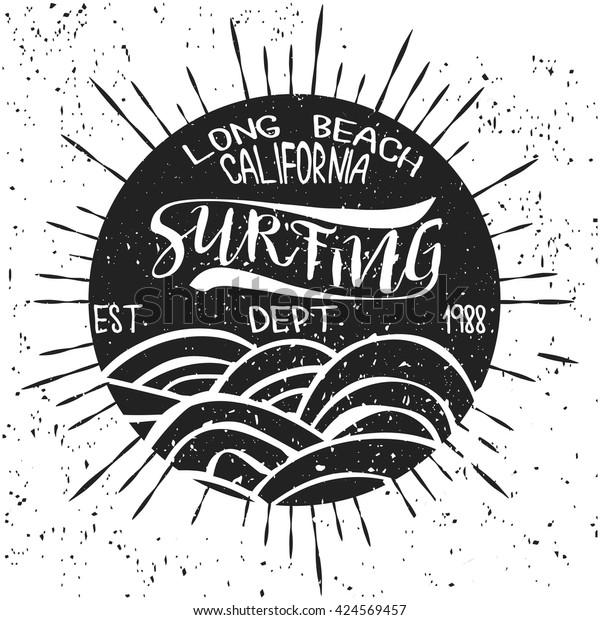 Surfing California Tshirt Graphic Print Design Stock Vector