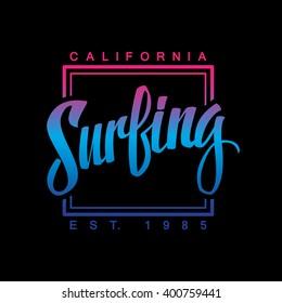 Surfing. Calligraphy. Surfing logo. Handwritten word. Surf typography, t-shirt graphics. Vector illustration.
