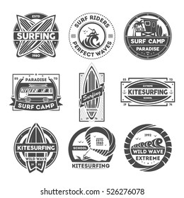 Surfing camp logo isolated label set vector illustration. Kitesurfing school symbol. Wild wave badge. Surf riders logo. Extreme logo and fun water recreation symbol. Surfboard, kite, van, surfer badge