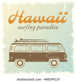 Surfing car retro poster with bus on light blue background and headline Hawaii surfing paradise vector illustration
