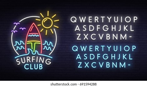 Surfing club neon sign, bright signboard, light banner.